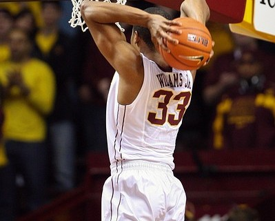 Nov 18, 2012; Minneapolis, MN, USA; Minnesota Golden Gophers forward Rodney Williams (33) dunks during the first half against the Richmond Spiders at Williams Arena. The Gophers defeated the Spiders 72-57. Mandatory Credit: Brace Hemmelgarn-US PRESSWIRE