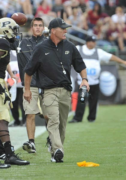 September 1, 2012; Purdue Boilermakers head coach Danny Hope during the game with Eastern Kentucky at Ross Ade Stadium, West Lafayette, IN, USA; Mandatory Credit: Sandra Dukes-US PRESSWIRE