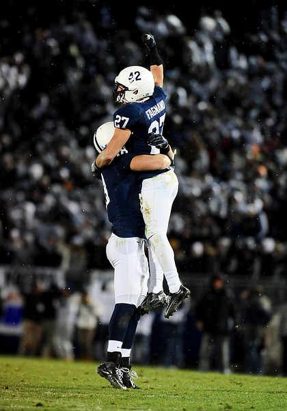November 24, 2012; University Park, PA, USA; Penn State Nittany Lions safety Jacob Fagnano (27) celebrates after getting an interception in the fourth quarter against the Wisconsin Badgers at Beaver Stadium. Mandatory Credit: Evan Habeeb-US PRESSWIRE