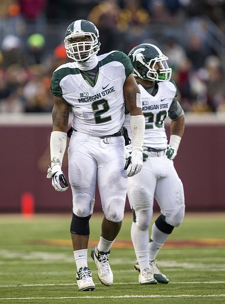 Nov 24, 2012; Minneapolis, MN, USA: Michigan State Spartans defensive end William Gholston (2) looks on during the first half against the Minnesota Golden Gophers at TCF Bank Stadium. Michigan State won 26-10. Mandatory Credit: Jesse Johnson-US PRESSWIRE