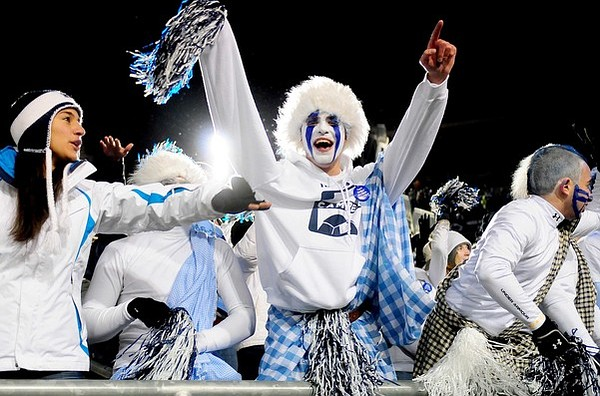 November 24, 2012; University Park, PA, USA; Penn State Nittany Lions fans cheer during the game against the Wisconsin Badgers at Beaver Stadium. Mandatory Credit: Evan Habeeb-US PRESSWIRE