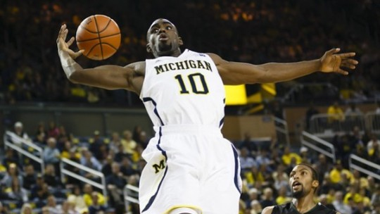 November 9, 2012; Ann Arbor, MI, USA; Michigan Wolverines guard Tim Hardaway Jr. (10) goes up for a pass in the first half against Slippery Rock at Crisler Center. Mandatory Credit: Rick Osentoski-US PRESSWIRE