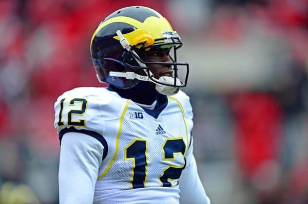 Nov 24, 2012; Columbus, OH, USA; Michigan Wolverines quarterback Devin Gardner (12) prior to the game against the Ohio State Buckeyes at Ohio Stadium. Mandatory Credit: Andrew Weber-US PRESSWIRE