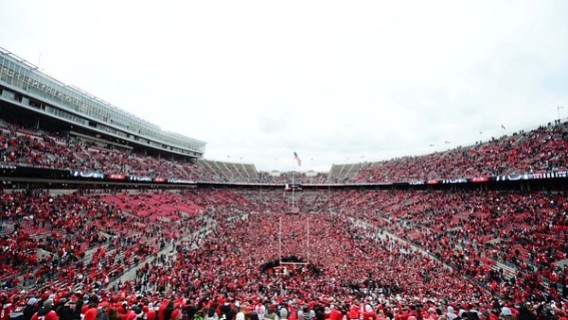 Nov 24, 2012; Columbus, OH, USA; A general view as Ohio State Buckeyes fans rush the field after defeating the Michigan Wolverines 26-21 to go undefeated on the season at Ohio Stadium. Mandatory Credit: Andrew Weber-US PRESSWIRE