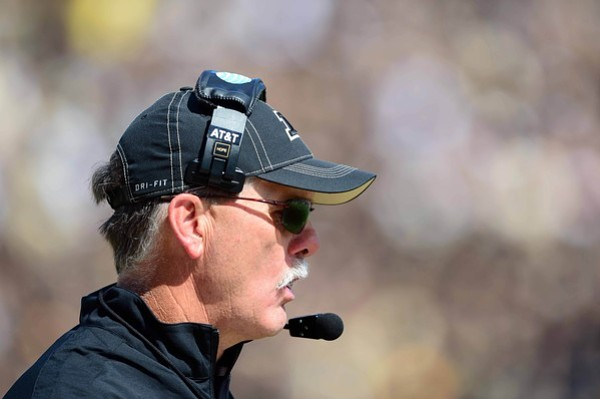 Sep 15, 2012; West Lafayette, IN, USA; Purdue Boilermakers head coach Danny Hope on the sidelines in the fourth quarter against the Eastern Michigan Eagles at Ross Ade Stadium. Mandatory Credit: Andrew Weber-US Presswire
