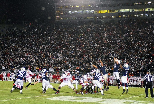 November 24, 2012; University Park, PA, USA; Wisconsin Badgers kicker Kyle French (94) misses a field goal in overtime to lose to the Penn State Nittany Lions 24-21 at Beaver Stadium. Mandatory Credit: Evan Habeeb-US PRESSWIRE