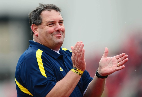 Nov 24, 2012; Columbus, OH, USA; Michigan Wolverines head coach Brady Hoke prior to the game against the Ohio State Buckeyes at Ohio Stadium. Mandatory Credit: Andrew Weber-US PRESSWIRE