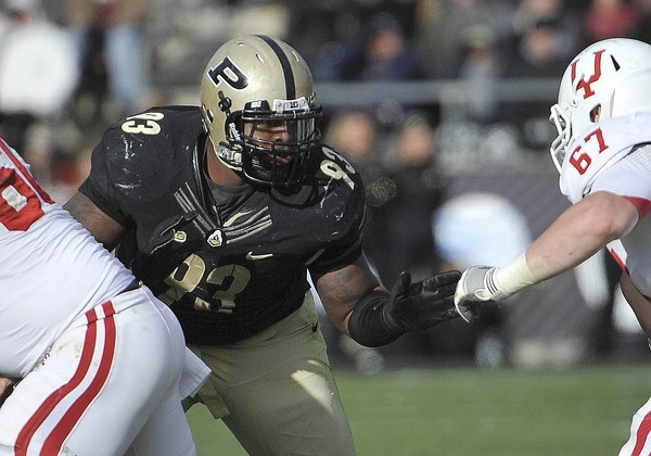November 24, 2012; West Lafayette, IN, USA; Purdue Boilermakers defensive tackle Kawann Short (93) during the game against the Indiana Hoosiers at Ross Ade Stadium. Mandatory Credit: Sandra Dukes-US PRESSWIRE