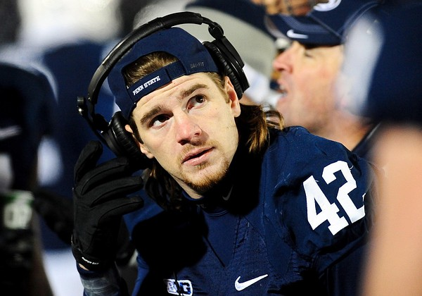 November 24, 2012; University Park, PA, USA; Penn State Nittany Lions linebacker Michael Mauti (42) looks on during the game against the Wisconsin Badgers at Beaver Stadium. Mandatory Credit: Evan Habeeb-US PRESSWIRE
