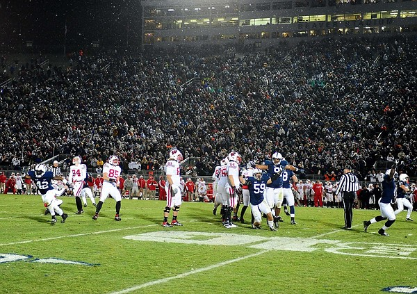 November 24, 2012; University Park, PA, USA; Penn State Nittany Lions players react after a missed field goal gives them a 24-21 victory over the Wisconsin Badgers at Beaver Stadium. Mandatory Credit: Evan Habeeb-US PRESSWIRE