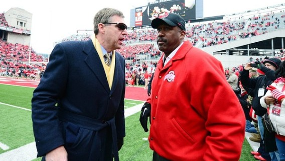 Nov 24, 2012; Columbus, OH, USA; Michigan Wolverines athletic director Dave Brandon (left) talks with Ohio State Buckeyes athletic director Gene Smith prior to the game at Ohio Stadium. Mandatory Credit: Andrew Weber-US PRESSWIRE