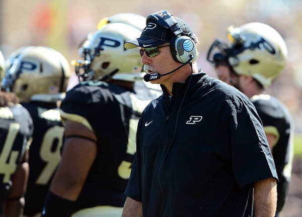 Sep 15, 2012; West Lafayette, IN, USA; Purdue Boilermakers head coach Danny Hope on the sidelines in the third quarter against the Eastern Michigan Eagles at Ross Ade Stadium. Mandatory Credit: Andrew Weber-US Presswire