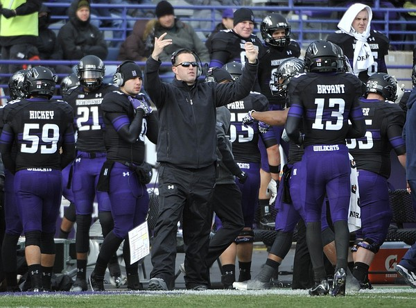 Nov 24, 2011; Evanston, IL, USA; Northwestern Wildcats head coach Pat Fitzgerald coaches against the Illinois Fighting Illini during the first half at Ryan Field. Mandatory Credit: David Banks-US PRESSWIRE
