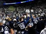 November 24, 2012; University Park, PA, USA; Penn State Nittany Lions players celebrate after beating the Wisconsin Badgers 24-21 at Beaver Stadium. Mandatory Credit: Evan Habeeb-US PRESSWIRE