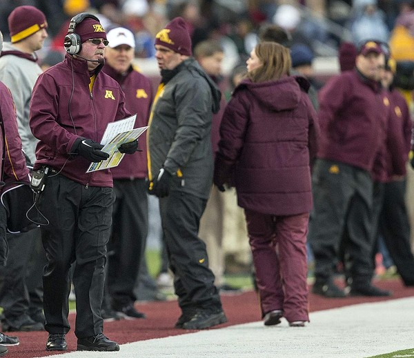 Nov 24, 2012; Minneapolis, MN, USA: Minnesota Golden Gophers head coach Jerry Kill looks on from the sideline during the first half against the Michigan State Spartans at TCF Bank Stadium. Michigan State won 26-10. Mandatory Credit: Jesse Johnson-US PRESSWIRE