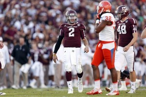 Nov 17, 2012; College Station, TX, USA;  Texas A&M Aggies quarterback Johnny Manziel (2) yells at Sam Houston State Bearkats defensive back Kenneth Jenkins (32) during the first half at Kyle Field. Mandatory Credit: Thomas Campbell-US PRESSWIRE.Credit: US PRESSWIRE