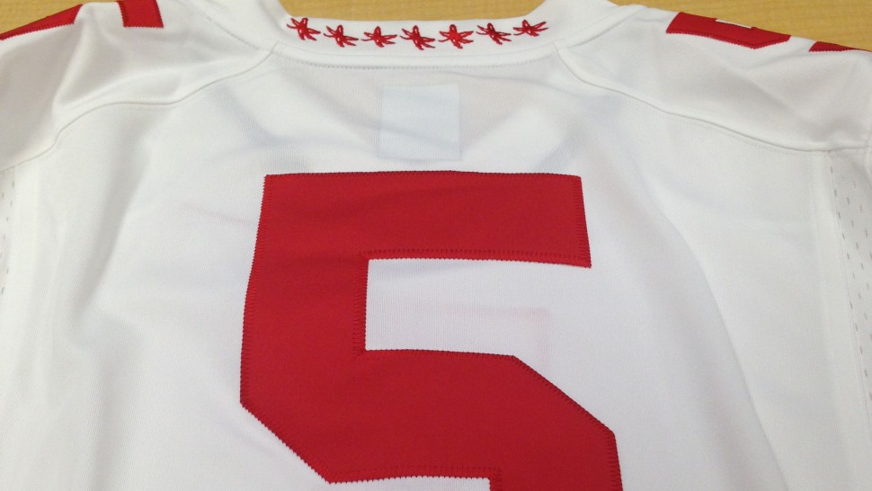 best service fd8b3 a5bcb Clothes Call: Buckeye Leaves on Ohio State jersey? « Big Ten ...