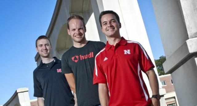 UNL graduates and Hudl founders Brian Kaiser, David Graff and John Wirtz.