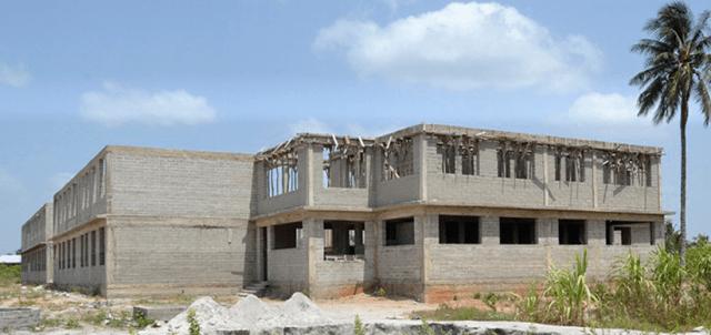 The school in Buyuni, under construction