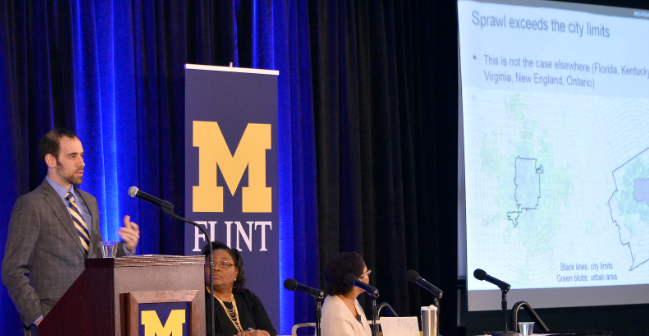 One of the recent presentations at UM-Flint on the causes and effects of the water crisis. Photo courtesy of the University of Michigan.