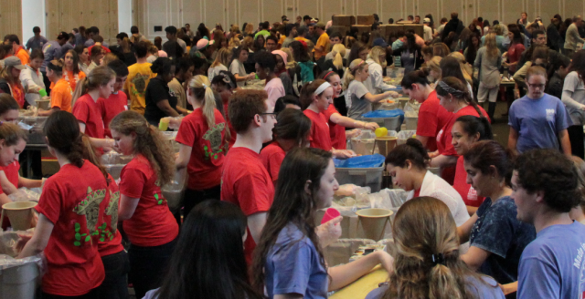 A recent food packing event organized by Terps Against Hunger
