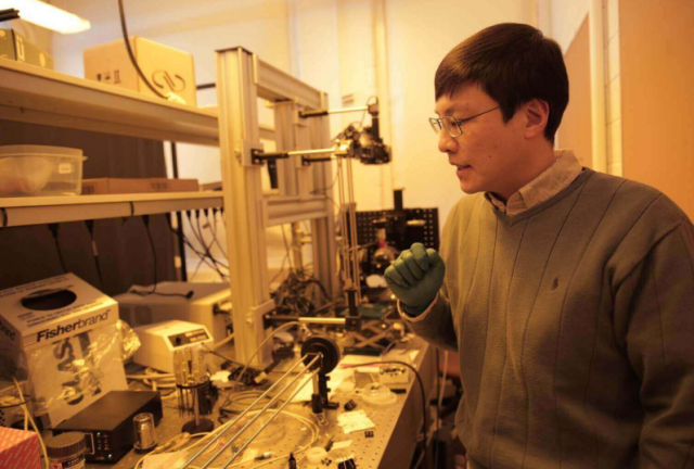 Prof. Jiang in the lab. Photo courtesy of the University of Wisconsin.