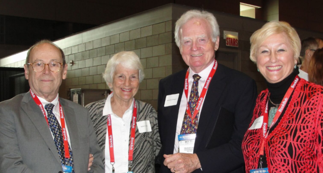 Rubin (center left) with fellow book lovers
