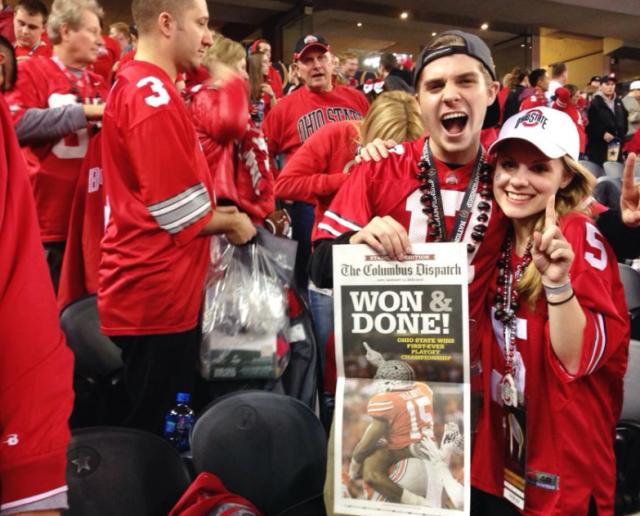 Crockett (right) enjoying OSU's national championship victory last year with her fellow Buckeye faithful
