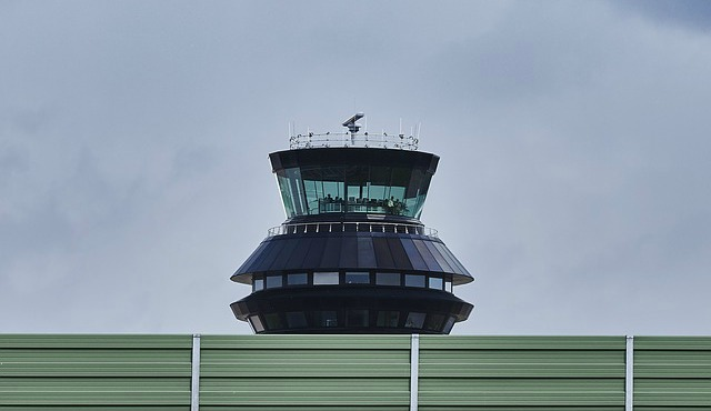Air traffic control tower looms large