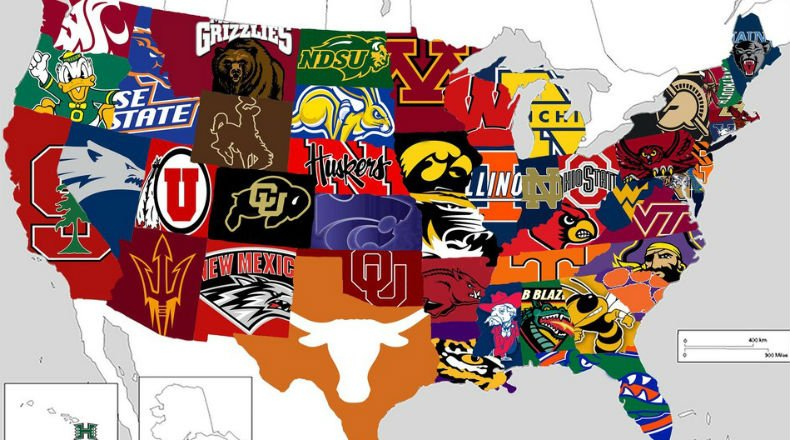 Reddit: Most popular college football teams in each state