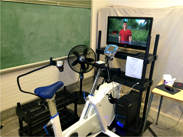 Lab stationary bike for athletic video game research