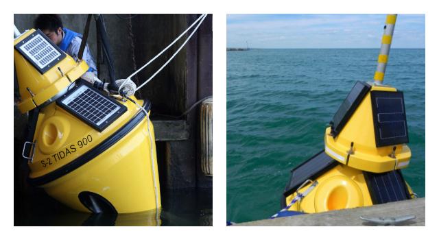 Two Lake Michigan weather buoys.
