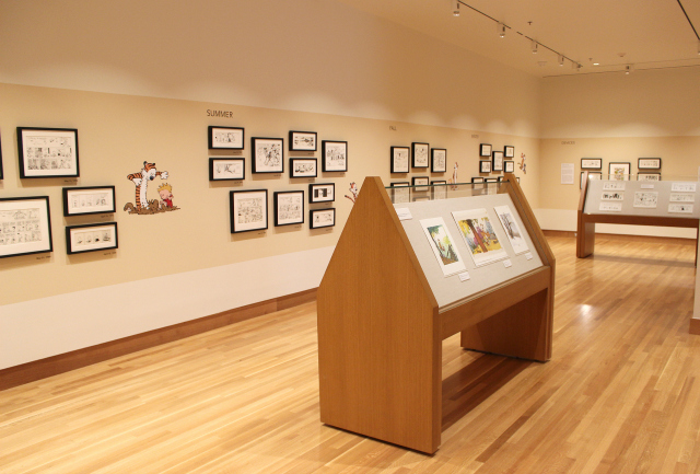 A shot of The Ohio State University Billy Ireland Cartoon Museum's Calvin & Hobbes exhibit