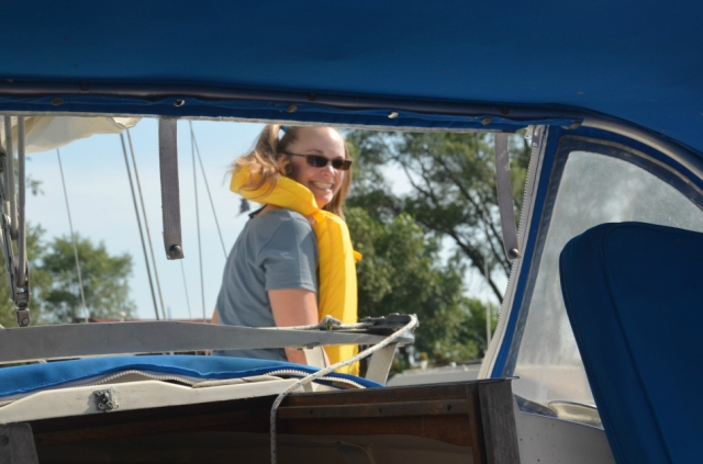 Professor Laura Alford aboard the sailboat upon which she sampled Great Lakes waters