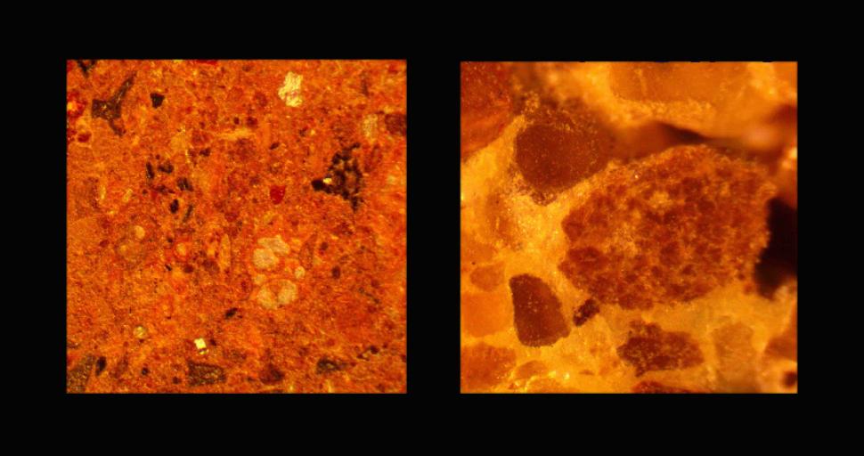 Closeup of Northwestern's Martian soil concrete