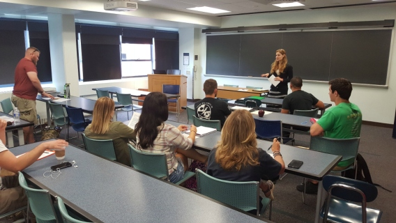 Student veterans in PSU's military transition first-year course.