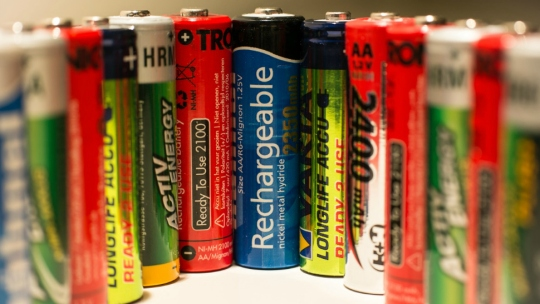 An array of different batteries.