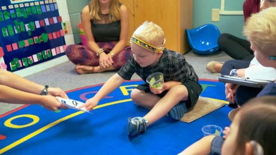 Camden Hutson having fun at the University of Iowa's Listen and Speak Up program for children with hearing loss.