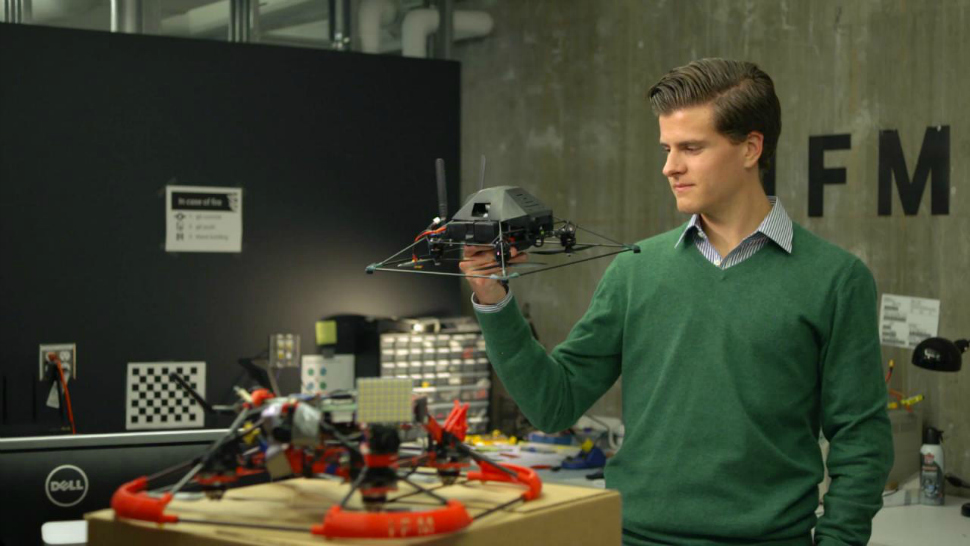Marc Gyongyosi test out his drone developed in The Garage at Northwestern University.