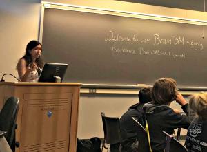 Penn State University researchers Jennifer Legault teaching a Brain3M module