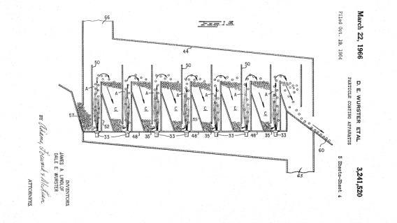 Patent drawing for a pill coater from the University of Wisconsin Alumni Research Foundation