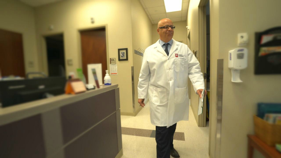 Indiana University doctor Rafat Abonour in the IU School of Medicine offices