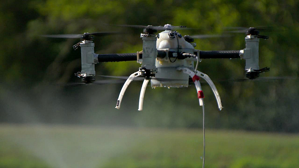 Rutgers University's Naviator drone rise out of the water.