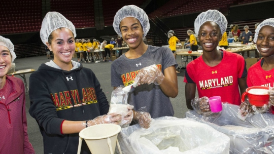 University of Maryland student-athletes give back through the Share the Shell program.