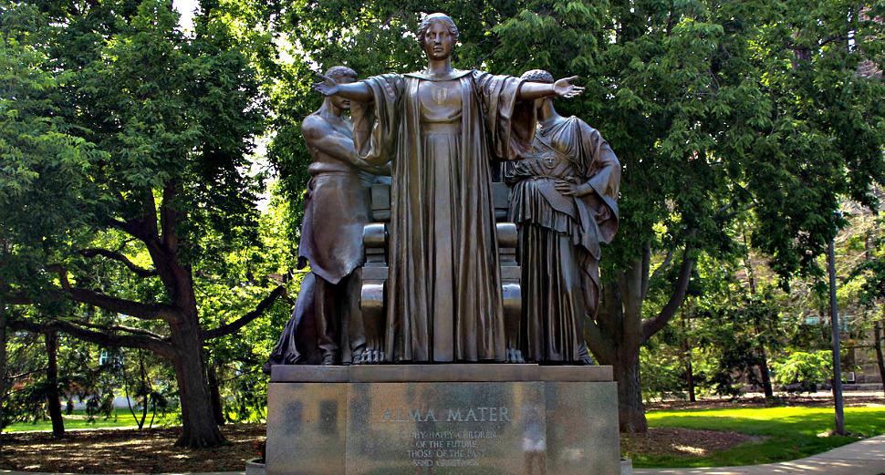 Alma Mater statue greets students at the University of Illinois