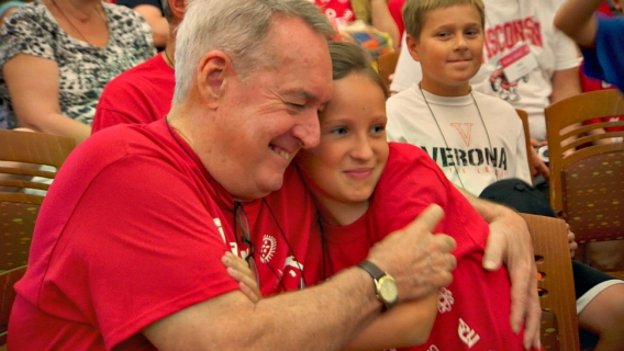 Students embrace at the University of Wisconsin's Grandparents University