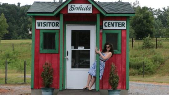 Rutgers grad Victoria Gonzalez outside a visitor's center