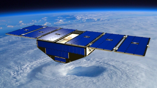 Artists rendering of a University of Michigan CYGNSS satellite tracking weather.