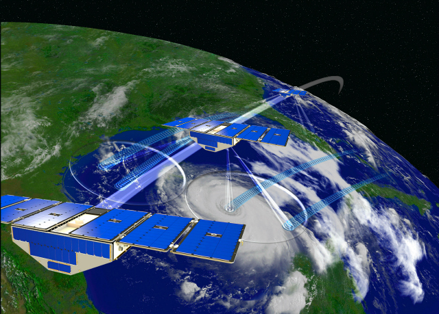 Artists rendering of a University of Mmichigan CYGNSS weather tracking satellite.
