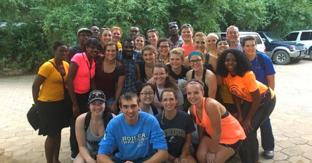 Group of Purdue University students and translators in Haiti